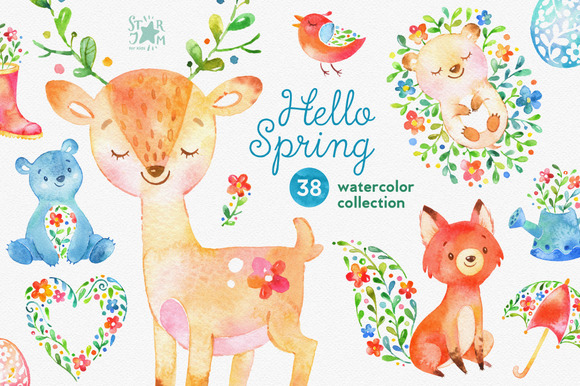 Hello Spring. Watercolor collection - Illustrations