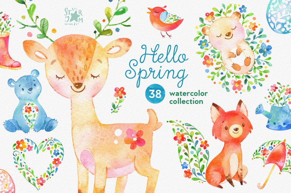 Hello Spring. Watercolor collection ~ Illustrations on ...