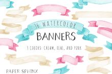 36 Watercolor Banner Pack