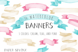 36 Watercolor Banner Pack