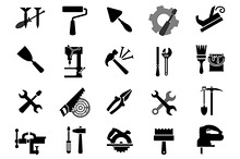 Black icons of tools