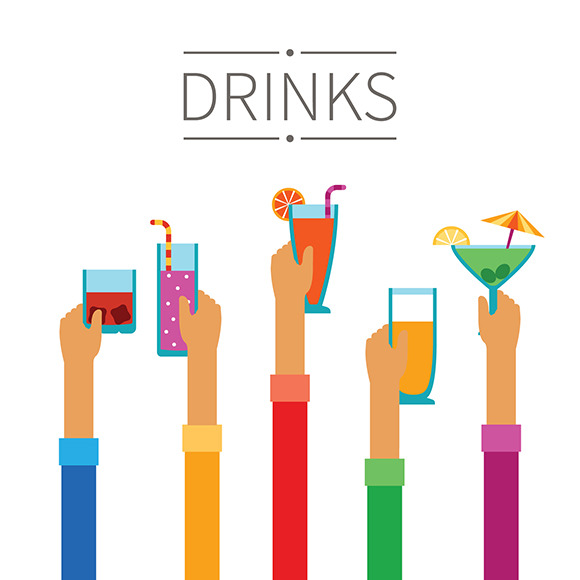 Drinks Background Flat Style