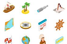 Happy Columbus Day icons
