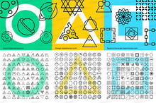 300 geometric thin line icons set