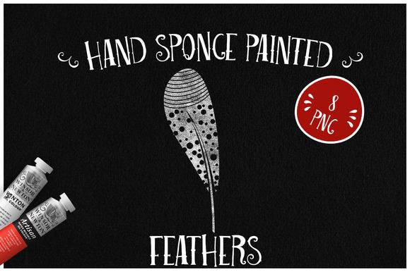 Sponge Painted Feathers