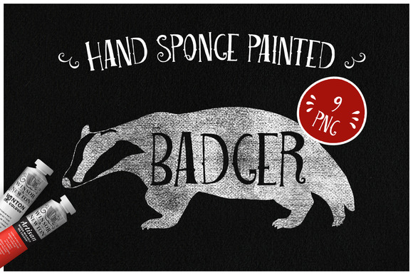 Sponge Painted Badger