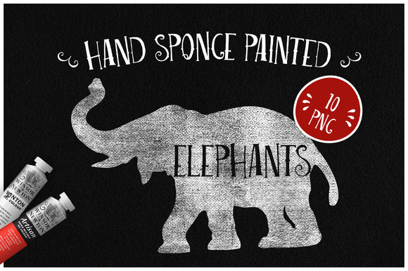 Sponge Painted Elephants