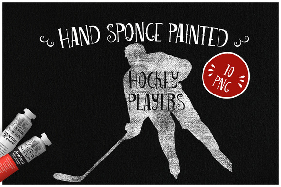 Sponge Painted Hockey Players