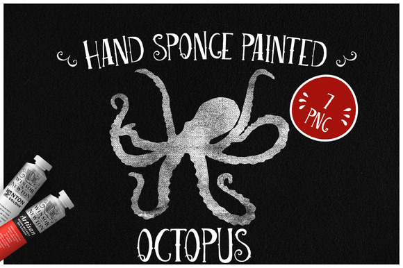 Sponge Painted Octopus