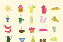 Hand draw icons breakfast food set