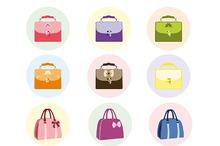 Female handbag set vector