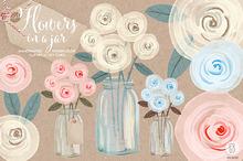 Watercolor cream roses mason jar