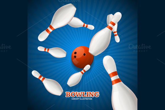 Bowling Concept. Vector - Illustrations