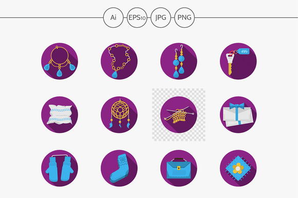 Handmade gifts purple icons. Set 2 - Icons