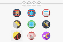 Heated floor flat color vector icons