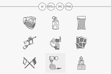 Paintball line vector icons. Set 2
