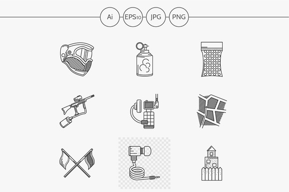 Paintball line vector icons. Set 2 - Icons