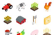 Farm isometric 3d icons set