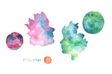 + Faces and Planets Watercolor +