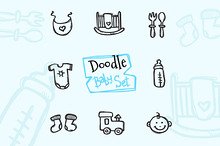 8 Doodle Icons. Baby Set