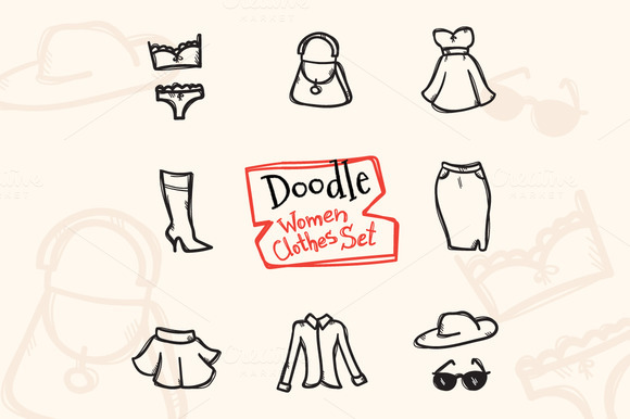 8 Doodle Icons. Women Clothes - Icons
