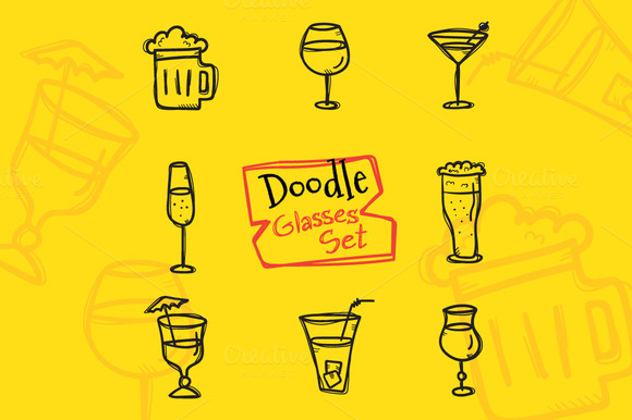 8 Doodle Icons. Drinks - Icons