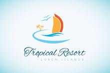 Tropical Resort Logo Template