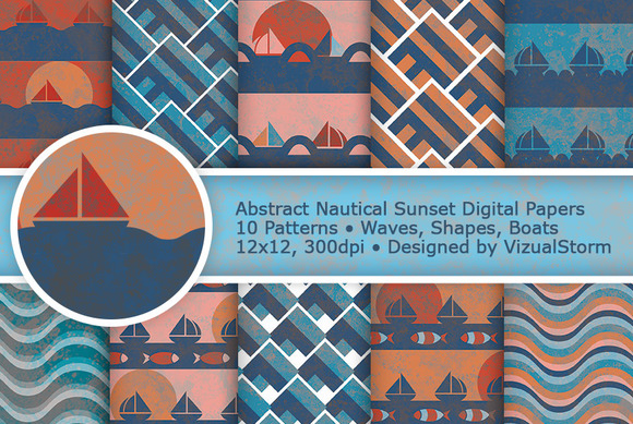 Abstract Nautical Digital Paper Pack