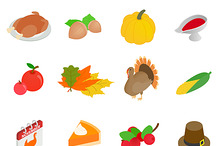 Thanksgiving day isometric 3d icons