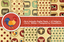 Vellum Farm Animals Digital Paper