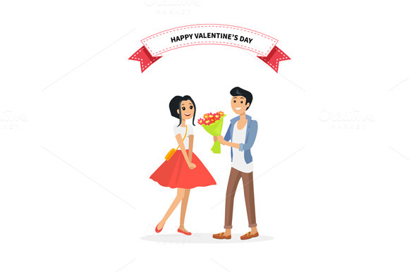Couple. Man Give Flower Woman - Illustrations