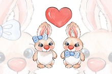 Cartoon rabbits/ watercolor/ 03