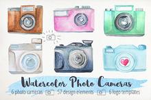 Watercolor Cameras Clip Art