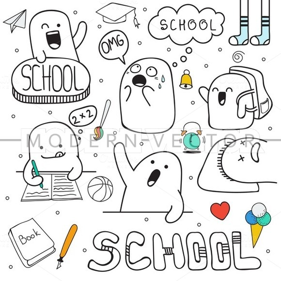 Set doodle characters. School time - Illustrations