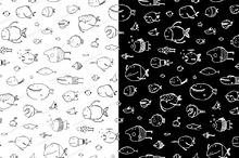 Cartoon Seamless Pattern Funny Fish