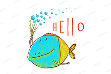 Fish Greeting Card Design Hand Drawn