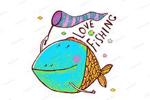 Funny Fish Greeting Card Design