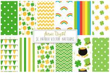 St Patricks Digital Paper + Vectors