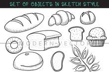 Set 10 doodle breads in sketch
