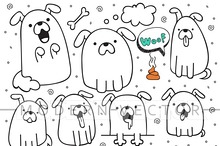 Set 10 dogs doodle handmade