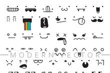 Set 50 different doodle emotions