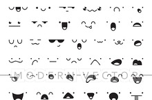 Set 50 different doodle emotions