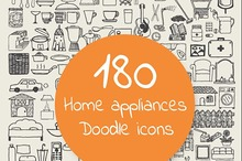 Home appliances doodle icons