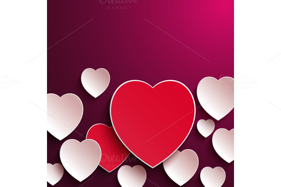 Set Abstract Paper Hearts