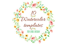 10 Watercolor Flowers Templates