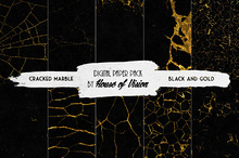 Cracked Marble Black & Gold Pack 10