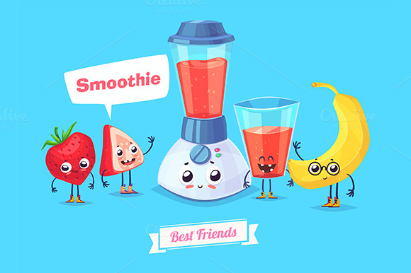 Funny characters. Smoothie - Objects