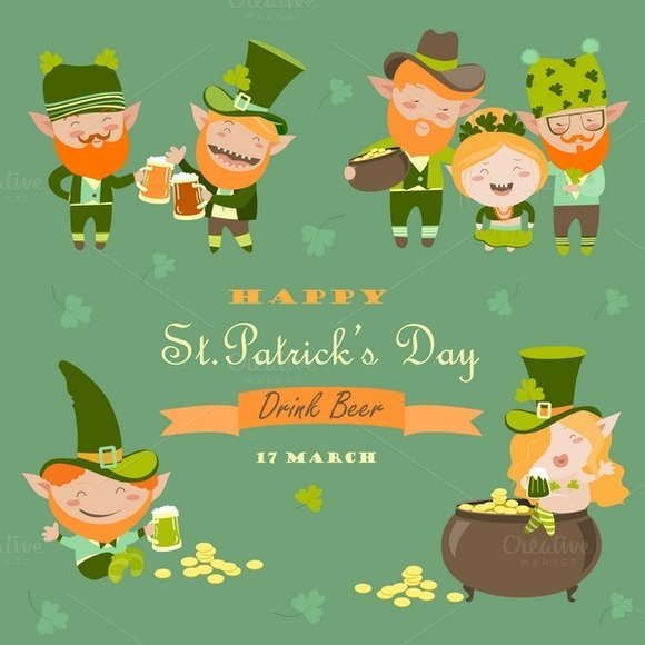 St.Patrick day with leprechaun - Illustrations