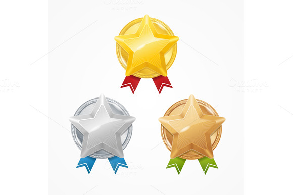 Medals with Stars Set. Vector - Objects