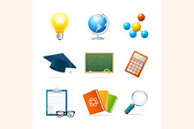 Colorful Science Icon Set. Vector